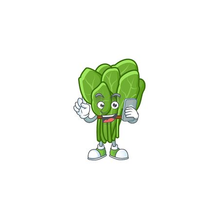 Mascot design of spinach speaking on the phone. Vector illustration