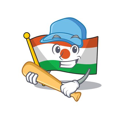 Cool flag niger Scroll cartoon character design with baseball