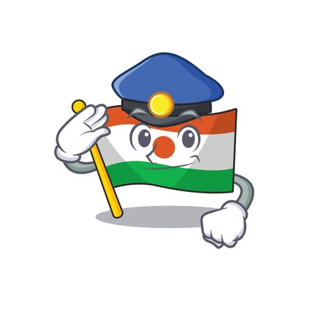 Flag niger Scroll Cartoon mascot style as a Police officer 向量圖像