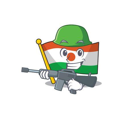 A mascot of flag niger Scroll Army with machine gun