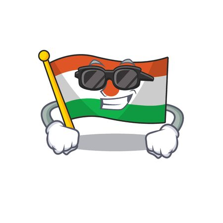Super cool flag niger Scroll character with black glasses Vectores