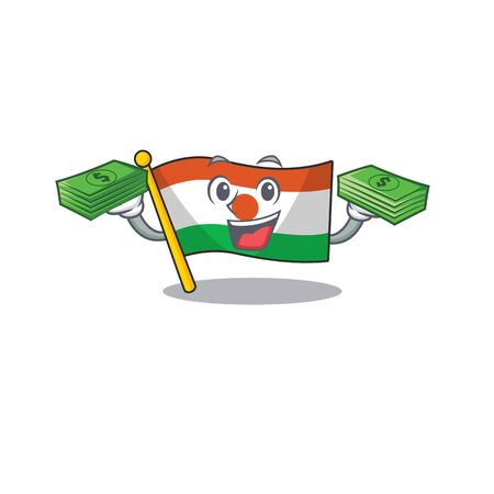 Very happy flag niger Scroll character with money on hands