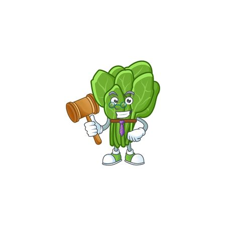 A professional judge spinach presented in cartoon character design. Vector illustration