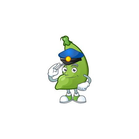 Broad beans Cartoon in character a Police officer costume. Vector illustration