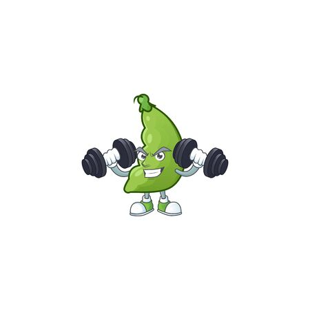 Fitness exercise broad beans mascot icon with barbells. Vector illustration