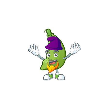 Broad beans mascot cartoon style as an Elf. Vector illustration Vectores