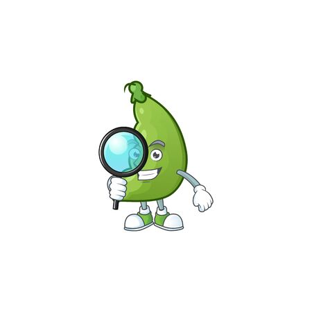 Smart One eye broad beans Detective cartoon character design. Vector illustration