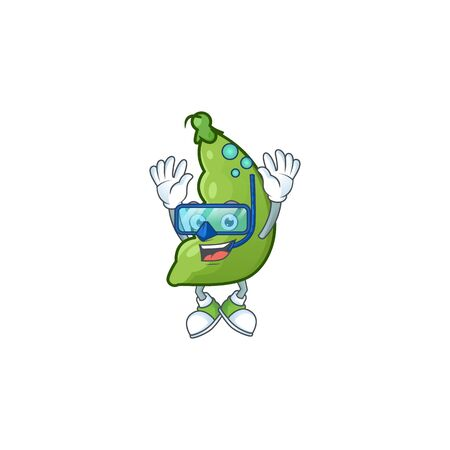 Funny broad beans mascot design with Diving glasses. Vector illustration