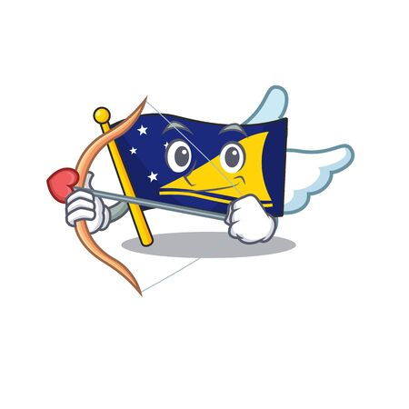 Cute flag tokelau Scroll Cupid cartoon character with arrow and wings