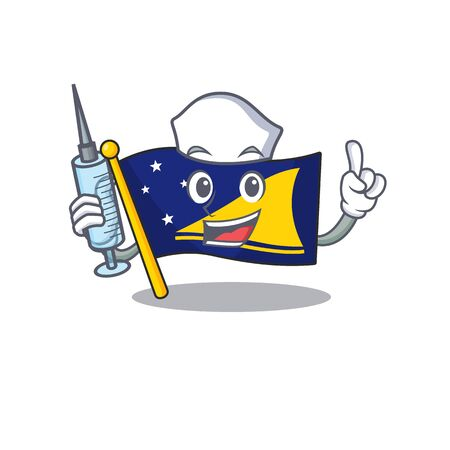 Hospitable Cute Nurse flag tokelau Scroll cartoon style holding syringe Illustration