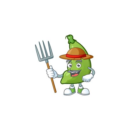 Happy Farmer broad beans cartoon mascot with hat and tools. Vector illustration