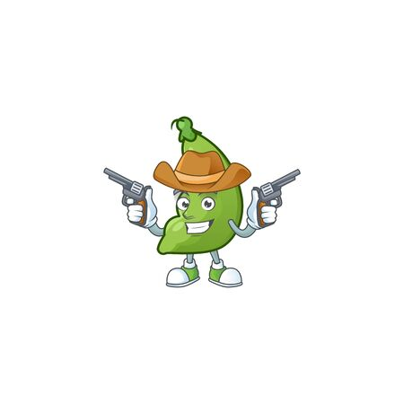 Smiling broad beans mascot icon as a Cowboy holding guns. Vector illustration