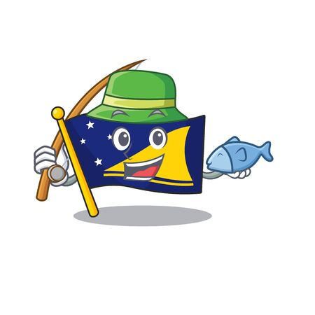 A Picture of funny Fishing flag tokelau Scroll design Illustration