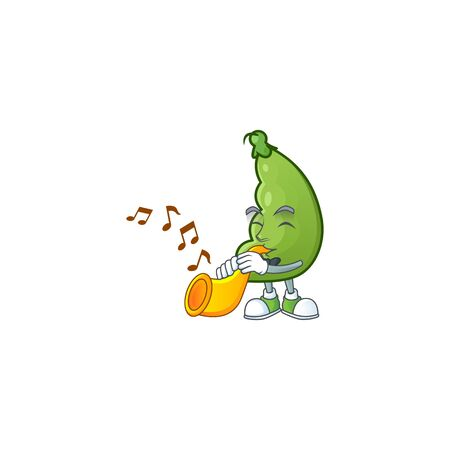 Cheerful broad beans cartoon character performance with trumpet. Vector illustration