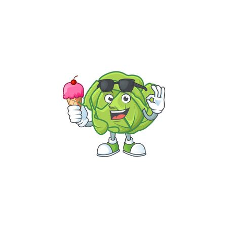 Cute cabbage cartoon character with ice cream. Vector illustration