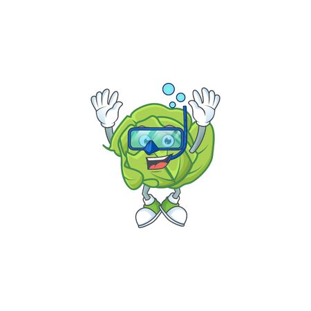 Funny cabbage mascot design with Diving glasses. Vector illustration