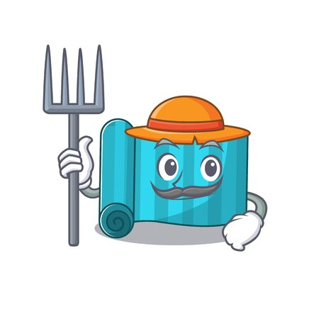 Happy Farmer yoga mattress Scroll cartoon character with hat and tools. Vector illustration