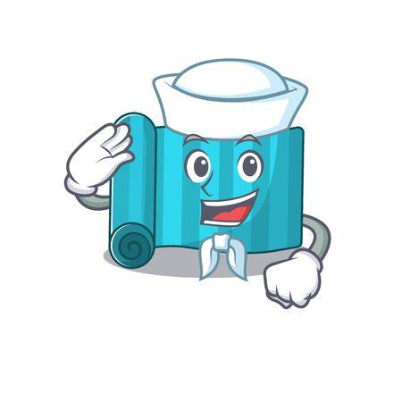 An icon of yoga mattress Scroll Sailor cartoon character wearing hat. Vector illustration Illustration