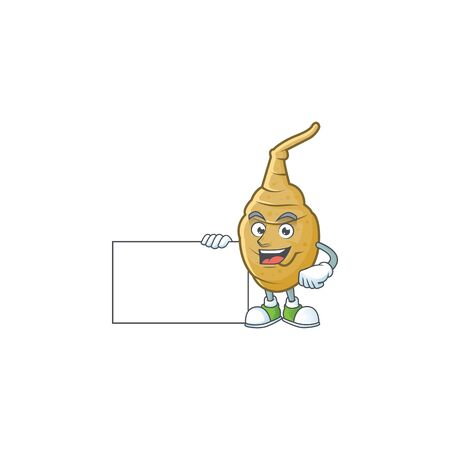 cute jerusalem artichoke cartoon character with a board Illusztráció