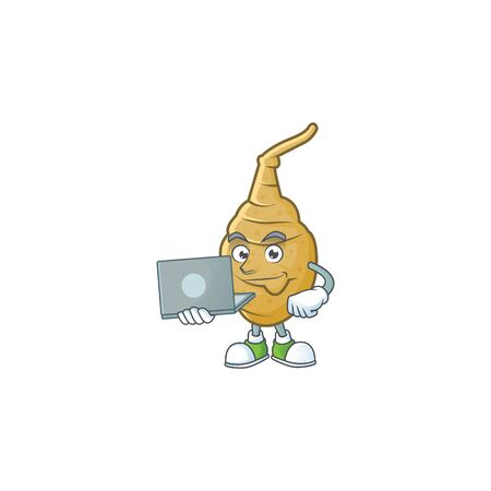 Smart jerusalem artichoke cartoon character working with laptop