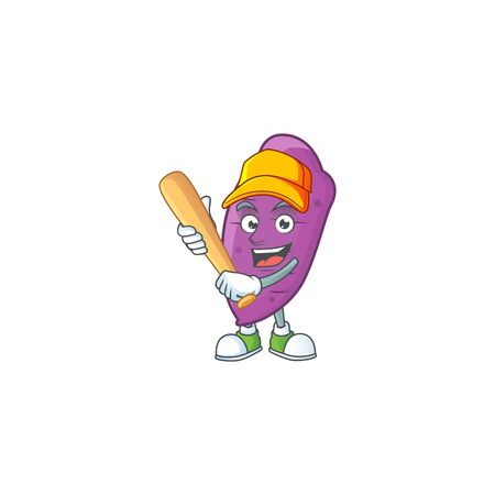 Funny smiling okinawa yaw cartoon mascot with baseball. Vector illustration