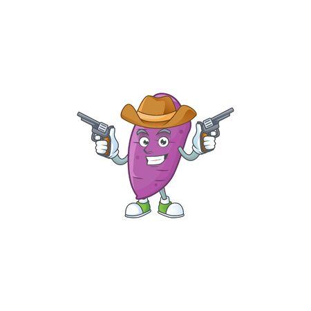 Smiling okinawa yaw mascot icon as a Cowboy holding guns. Vector illustration