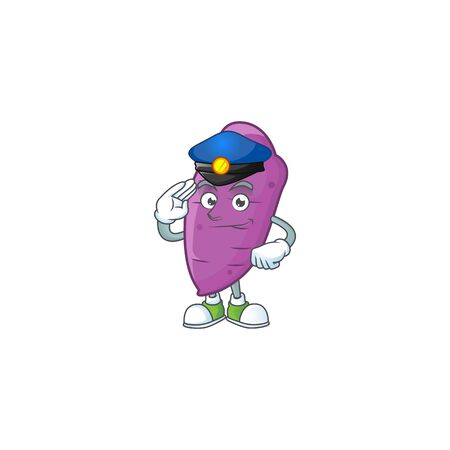 Okinawa yaw Cartoon in character a Police officer costume. Vector illustration