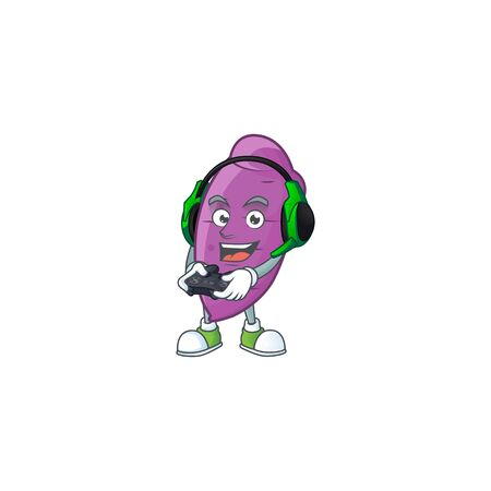 mascot icon of okinawa yaw with headphone and controller. Vector illustration