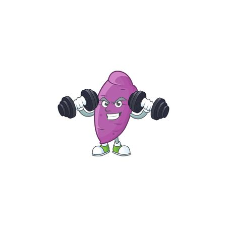 Fitness exercise okinawa yaw mascot icon with barbells. Vector illustration  イラスト・ベクター素材