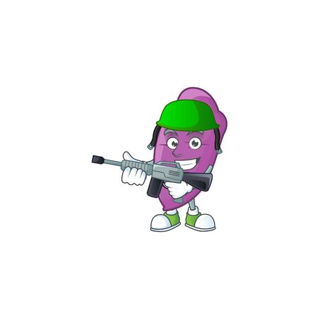 A mascot of okinawa yaw as an Army with machine gun. Vector illustration
