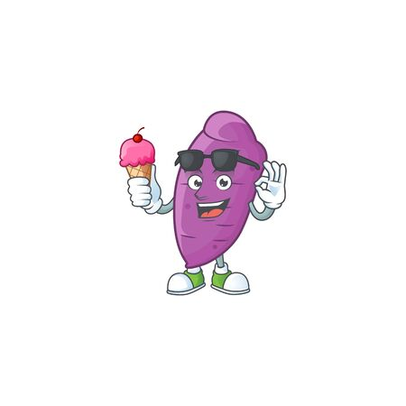 Cute okinawa yaw cartoon character with ice cream. Vector illustration