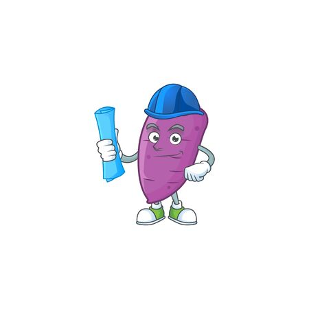 Cheerful Architect okinawa yaw cartoon character having blue prints. Vector illustration
