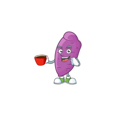 Picture of okinawa yaw character with a cup of coffee. Vector illustration