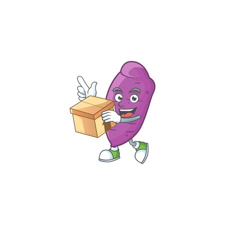 Cute okinawa yaw cartoon character style holding a box. Vector illustration