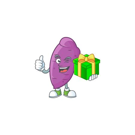 cartoon character of happy okinawa yaw with gift box. Vector illustration  イラスト・ベクター素材