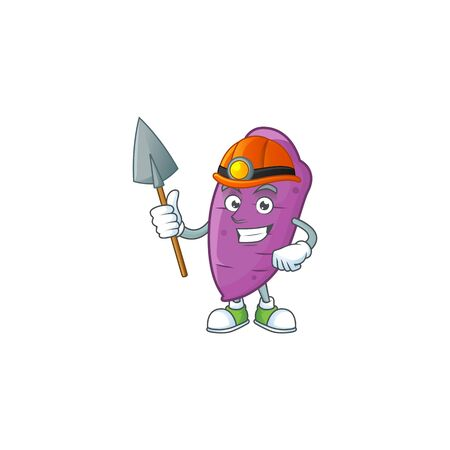 Cool Miner okinawa yaw cartoon character design style. Vector illustration