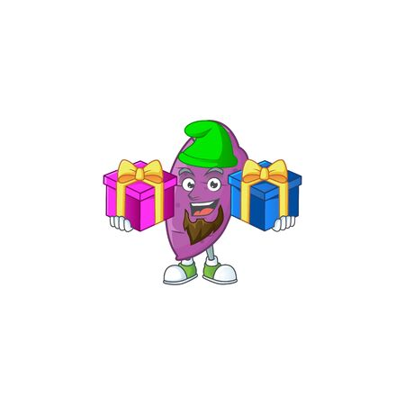 Cheerful okinawa yaw cartoon design with Christmas gift boxes. Vector illustration
