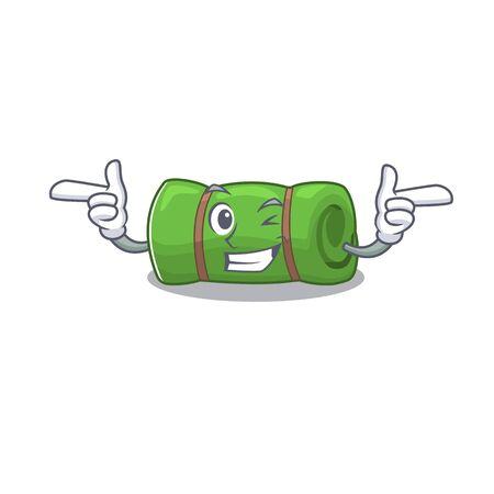 Camping mat Scroll mascot cartoon design with Wink eye