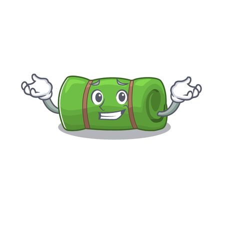 Cute and Cool Grinning camping mat Scroll mascot cartoon style