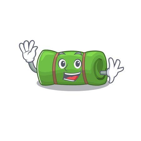 Waving cute smiley camping mat Scroll cartoon character design