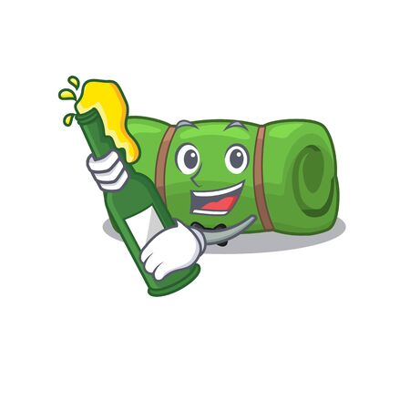 Camping mat Scroll with bottle of beer mascot cartoon style Stock Illustratie