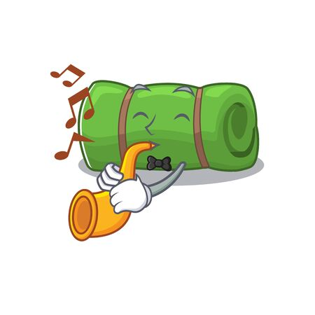 Camping mat Scroll cartoon character design performance with trumpet