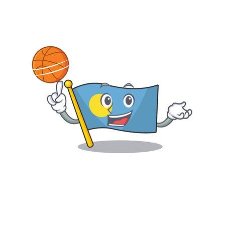 An icon of flag palau Scroll cartoon character playing basketball