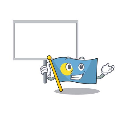 Flag palau Scroll cute cartoon character bring a board