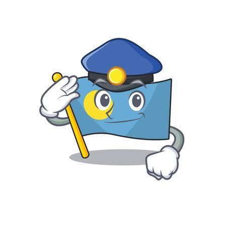 Flag palau Scroll Cartoon mascot style as a Police officer