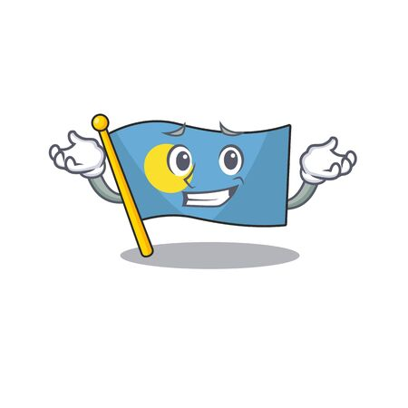 Cute and Cool Grinning flag palau Scroll mascot cartoon style 向量圖像