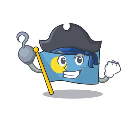 one hand Pirate flag palauScroll cartoon style with hat
