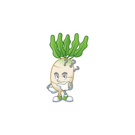 cartoon character of daikon with confuse gesture. Vector illustration