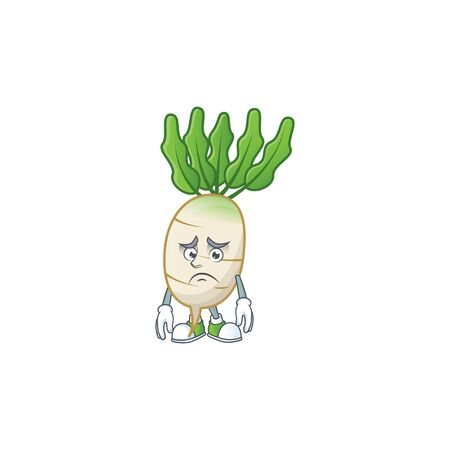 Afraid daikon Cartoon character mascot design style. Vector illustration