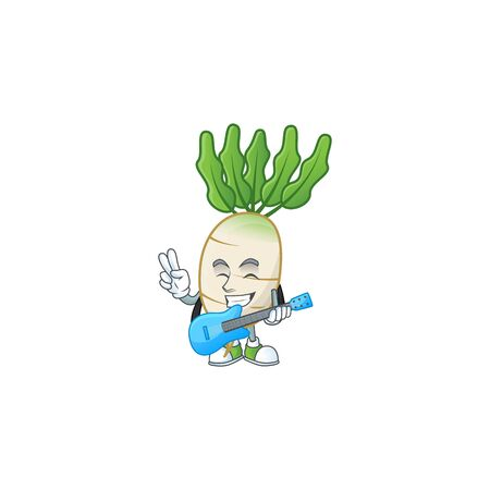 Cute and cool daikon cartoon character performance with guitar. Vector illustration